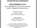 Announcement of Thesis Presentation: Seth Dornish, B.H.S.